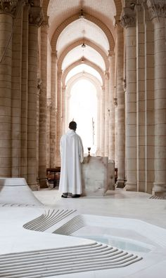 St. Hilaire Church Conversion by Mathieu Lehanneur: Stacked layers of white marble create an organic, topological flow. #St_Hilaire_Church_Conversion #Mathieu_Lehanneur