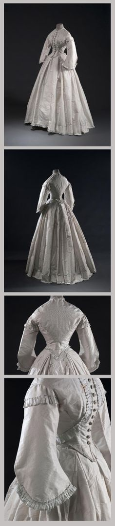 Dress, ca 1861-1862. I wonder if this is a museum reproduction?  Link no longer works.