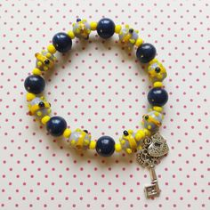 Blue and yellow lucky charm bracelet stretch only $14,95 by WithLoveFromLiz