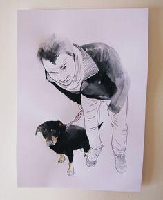 Marci with his dog,   by Viktoria Szunyoghy