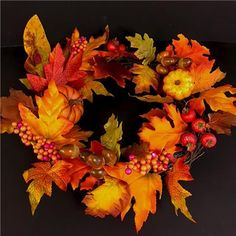 Artificial Autumnal Wreath with Pumpkins Maple Leaves and Acorns - Harvest Decor | eBay