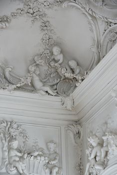 "Detail of ""White Hall"" in the Rundale Palace, built (1736-1740),Latvia. Sculptures done by Johann Michael Graff 1765-1768 from Berlin."