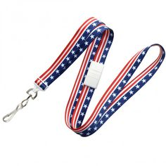 Proud to be an American <3 Pre-printed Stars & Stripes neck lanyard