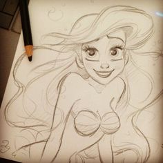 Art drawings, disney sketches, disney drawings, drawings of ariel, draw Amazing Drawings, Beautiful Drawings, Cute Drawings, Drawing Sketches, Drawing Ideas, Sketching, Ariel Disney, Goth Disney, Disney Sketches