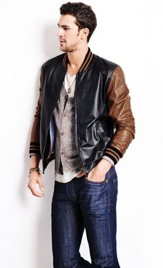 Beautiful leather jacket for a guy <3