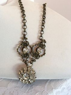 Antique Gold Necklace with Vintage Rhinestone by AnjewelAmy