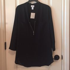 Women's zip down dress shirt NWT. It's a plaid sheer polyester material as shown in the third picture. If you have questions just ask. No PayPal, no trades. Thanks! Tops