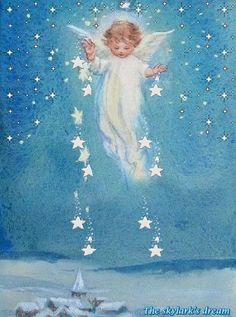 by Erica von Kager. Vintage Christmas Cards, Christmas Images, Christmas Angels, Christmas Art, Vintage Cards, Xmas, I Believe In Angels, Angel Pictures, Angels Among Us