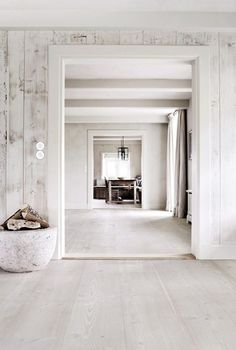I am a huge fan of white floors. I have just had installed white French oak throughout the entire house and could not be happier. We live at the beach and there's an incredible amount of natural light that reflects from the sea. New Homes, House Design, Home, House, White Interior, Interior Architecture, White Floors, Contemporary House, White Washed Furniture