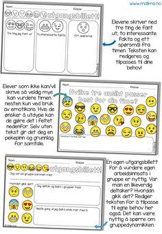 """Elever har et forhold til emotikons / smilefjes fra tiden de bruker på sosiale media. Å bruke dem på utgangsbilletter er kjekt! Disse utgangsbillettene er laget for å """"korke"""" kunnskap på slutten av en time. Hva har de lært? Hva sitter de igjen med? De kan brukes i alle fag og til alle emner."""