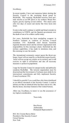 Read Amb. Prosor's letter to #UNSC following #Hezbollah's deadly terror attack in northern Israel Jan 28 2015