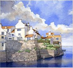 """The Water house, Staithes, England"" original watercolor on paper by Iain Stewart Watercolor Sketch, Watercolor Artists, Watercolor Techniques, Watercolour Painting, Painting & Drawing, Watercolors, Drawing Tips, Figure Drawing, Watercolor Architecture"