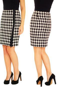 Pied de poule is een  klassieke stof die nooit uit de mode gaat, de stijl is vrouwelijk, verfijnd en elegant en oneindig te combineren. http://tubino.nl/shop/kokerrokken/pied-de-poule/