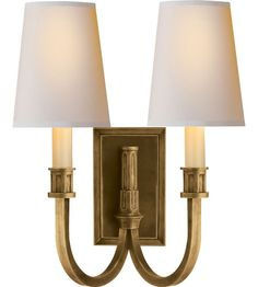 Visual Comfort Thomas OBrien  Library 2 Light Decorative Wall Light in Hand-Rubbed Antique Brass TOB2328HAB-NP #visualcomfort