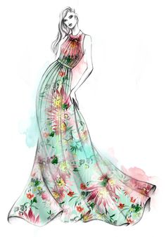 Hello spring! Bountiful blooms on fresh mint green… An ode to spring illustrated by the studio. The Matthew Williamson Jungle Bloom mint gown as illustrated in the London studio.