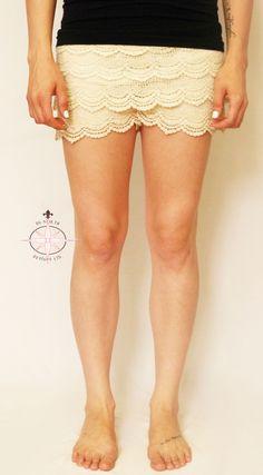 Ladies Crochet Wave Shorts ***Various Colours - Du North Designs North Design, Lace Shorts, Waves, Colours, Lady, Crochet, Clothing, Fashion, Crochet Hooks