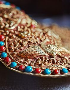 Chinese Antique Tibetan Buddhism Pure Copper Inlaid Gems Vajra Implement