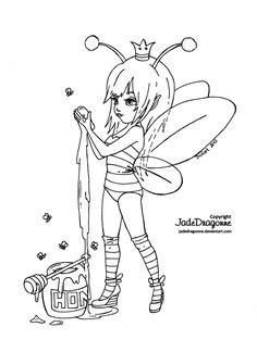 Queen Bee - Lineart by JadeDragonne.deviantart.com on @deviantART