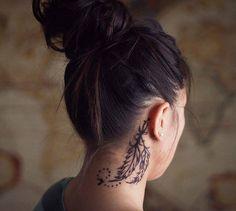 feather neck tattoo