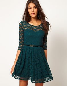 Teal Lace Skater Dress with 3/4 Length Sleeves