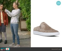 Penny's beige slip on sneakers on The Big Bang Theory. Outfit Details: https://wornontv.net/70588/ #TheBigBangTheory