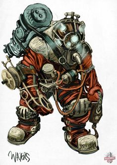 Bioshock ~ The SlowPro: A Big Daddy model that unfortunately never made it into the first game. At least we got the Rumbler in BioShock Character Concept, Character Art, Concept Art, Character Design, Game Concept, Bioshock Game, Bioshock Series, Video Game Art, Video Games