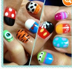 Disney nails! instead of Woddy, Pooh(or Tigger), and sully I would put the pumpkin from Cinderella, nemo, and Stitch. oh and I would put a glitter bow on minnie