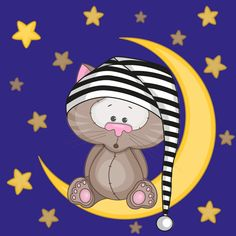Cute cat with moon and star vector