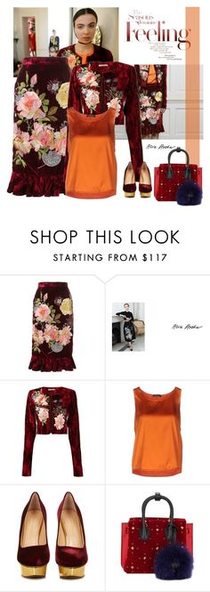 """Alice Archer 'Delia' velvet skirt"" by bodangela ❤ liked on Polyvore featuring Alice Archer, Twin-Set, Charlotte Olympia and MCM"