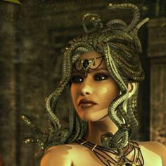Medusa (Μέδουσα) was a monster, a Gorgon, generally described as having the face of a hideous human female with living venomous snakes in place of hair. Gazing directly into her eyes would turn onlookers to stone.