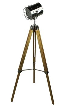 Standstrahler old color Chrome/natural wood 71*56*144Industriele staande lamp Tripod driepoot filmlamp