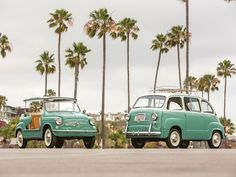 This Adorable Mint Green Fiat Twinset is For Sale.  Rare examples of the 1950s Fiat 600 Multipla and 600 Jolly are going up for sale at RM Auctions this August in Monterey, California.