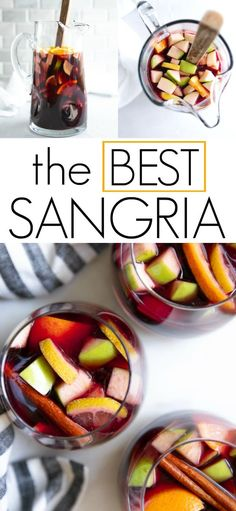 The Best Sangria Recipe - Delicious and refreshing, this is hands down, the Best Sangria Recipe. Made with a handful of simple - Sweet Cocktails, Best Cocktail Recipes, Best Sangria Recipe With Brandy, Simple Sangria Recipe, Summer Cocktails, Yummy Drinks, Yummy Food, Healthy Food, Red Wine Sangria