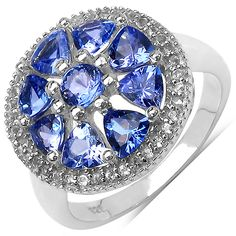 New 925 sterling silver tanzanite ring with rhodium plating
