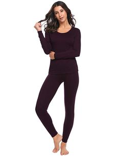 6bb3aa37c6e Hufcor Women Long Johns Thick Thermal Underwear Set Long Sleeve Tops with  Elastic Waist Pants Review