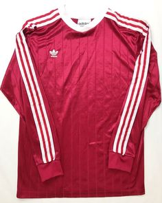 28651c02ba2 Vintage Adidas Mens Red White Medium Long Sleeve Football Goalkeeper Shirt  | eBay