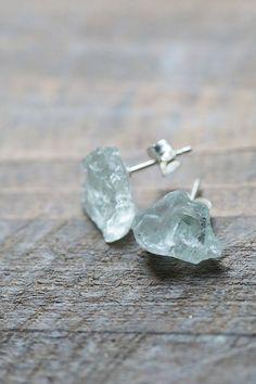 raw aquamarine stud earrings #jewelry
