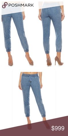 Coming Soon! Achieve a sporty chic look wearing these WAX denim joggers. This effortless design features a drawstring waist and a flattering slim cut leading to smocked ankle length cuffs. Pair these denim joggers with a printed off the shoulder peasant top and heels for a cute party outfit. 100 % cotton Pants Track Pants & Joggers