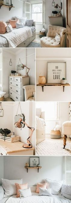 a light and airy guest bedroom | Guest bedroom decor ideas | White and peach bedroom | Feminine guest room decor | Modern country bedroom inspiration | ikea daybed inspiration | Scandinavian style bedroom inspiration | Antique shelving | How to style a shelf | copper bedroom accessories | upcycled chest of drawers