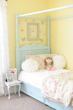 Shabby Chic Girls Bedroom Love this wall color.