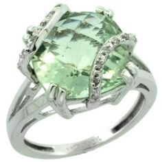 10k White Gold Diamond Green Amethyst Ring 7.5 ct Cushion Cut 12 mm Stone, 1/2 inch wide, sizes 5-10: Jewelry