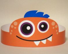 Orange Monster Paper Crown - Printable