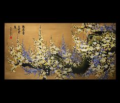 Cherry Blossom Abstract Modern Painting Canvas Wall Art Framed Giclee Art Prints On Canvas