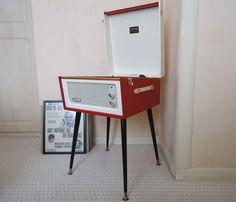 An original restored 1960s Dansette Bermuda record player with legs on eBay