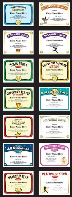 Softball certificates award templates for youth softball teams, high school softball and more. Easy to use and stylish designs.