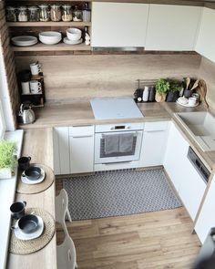 Kitchen Room Design, Home Room Design, Modern Kitchen Design, Kitchen Layout, Home Decor Kitchen, Interior Design Kitchen, Home Kitchens, Small Apartment Kitchen, Small Apartment Design