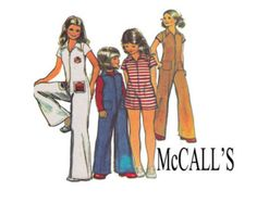 Girls Size 14 1970s Vintage Jumpsuit & Romper Sewing Pattern Breast 32 Race Car Style coveralls Roller derby Tween Teen McCalls 4983