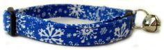Breakaway Cat Collar in Christmas Blue Snow Flakes Handmade in the USA >>> Check out the image by visiting the link.