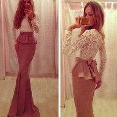 Cheap Sexy O Neck Long Sleeves Lace Patchwork Mermaid Floor Length Peplum Dress