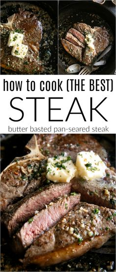 Learning How to Cook Steak is so easy! In this post, I'll share with you all my tips and tricks (plus things to avoid) for cooking mouthwatering Butter Basted Pan-Seared steaks. How to Cook Steak (Butter Basted Pan-Seared Steak) - Steak Recipes Pan, Beef Recipes, Cooking Recipes, Healthy Recipes, Game Recipes, Chicken Recipes, Seafood Recipes, Swiss Steak Recipes, Steak Dinner Recipes